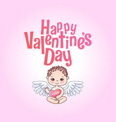 Happy valentine s day greeting card angel cupid vector