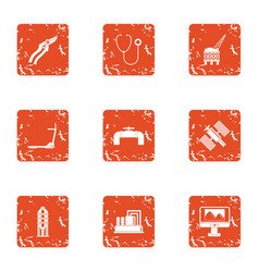 Hunt down icons set grunge style vector