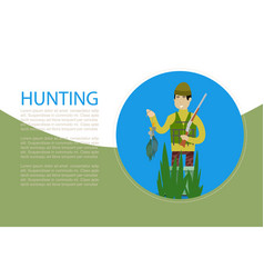 Hunting banner with hunter holding rifle and ducks vector
