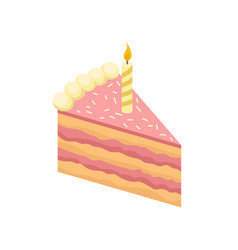 isometric slice of delicious cake with burning vector image