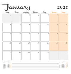 January 2020 monthly calendar planner printable vector