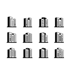 Line perspective icons buildings and company set vector