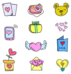 Love theme doodles vector