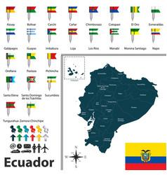 Map of ecuador with flags vector