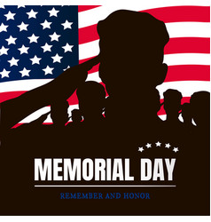 memorial day silhouettes of soldiers vector image