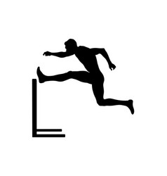 Men athlete runner run hurdles vector