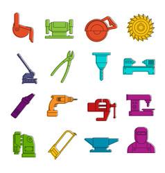 Metal working icons doodle set vector