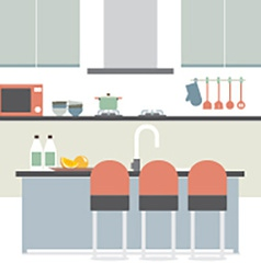 Modern Flat Design Kitchen Interior vector