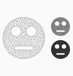 Neutral smiley mesh wire frame model vector