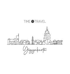 One single line drawing yogyakarta city skyline vector