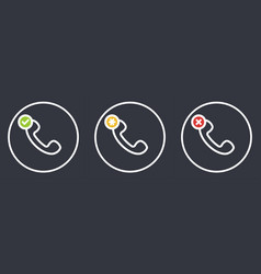 outline retro telephone handset symbol set vector image