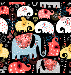 pattern colorful elephants vector image