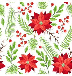 Pattern with winter evergreen plants and red vector
