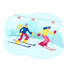 people skiing man and woman skiers cross country vector image
