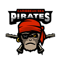 pirate is a monkey and pistols vector image
