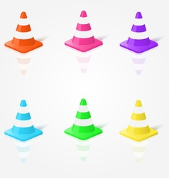Realistic traffic cones in in different colors vector