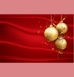 red christmas background with gold balls elegant vector image