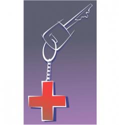 Red cross key vector