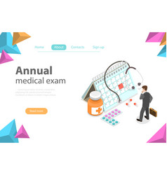 Regual medical checkup isometric flat vector