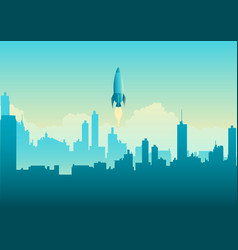 rocket launching on cityscape vector image