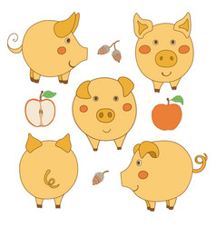 Set of cute cartoon yellow pig face profile vector