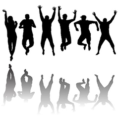 Set of young people silhouettes jumping vector