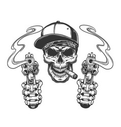 skull smoking cigar in baseball cap vector image