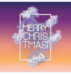 Snow frame with Merry Christmas text vector