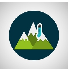 Snowy mountains thermometer weather concept vector