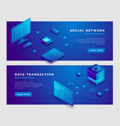 social network and transaction concept banner vector image