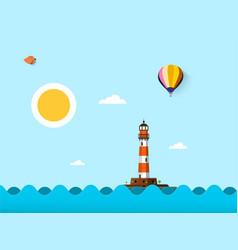 sunny day on sea flat design ocean landscape vector image