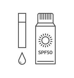 Sunscreen bottles icons vector