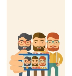 Three men taking selfie vector image