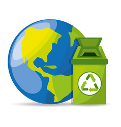 Trash can with recycling symbol for the planet vector