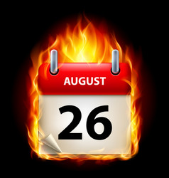 Twenty-sixth august in calendar burning icon on vector