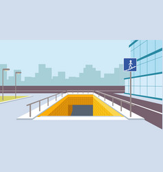 Underground pedestrian crossing perspective vector