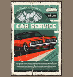 Vintage car and mechanic repair tools vector