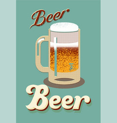 vintage style poster with a beer mug vector image