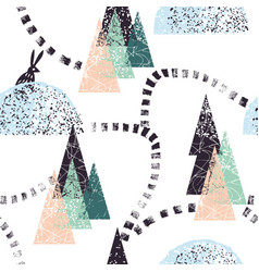 Winter forest trail pattern vector