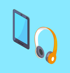 wireless headphones and tablet 3d icons vector image