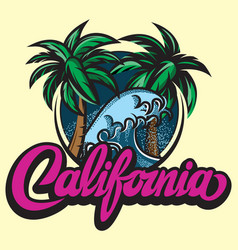 with calligraphic lettering california and palm vector image