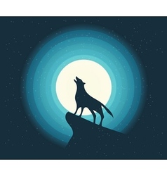 Wolf howling in moonlight vector