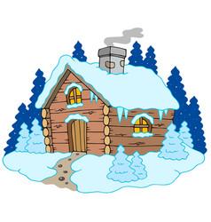 Wooden cottage in winter landscape vector