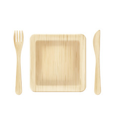 wooden plate with fork and knife top view clip art vector image