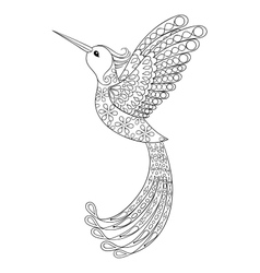 Zentangle tribal Hummingbird flying bird totem vector image