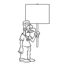 Black and white sad hippie with protest sign vector image vector image