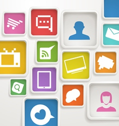 color boxes with media icons vector image
