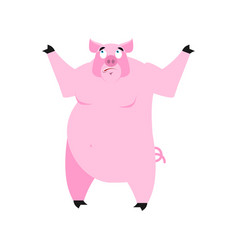 Pig surprised emoji piggy astonished emotion on vector