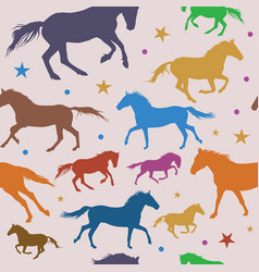 seamless pattern with colorful running horses on vector image vector image
