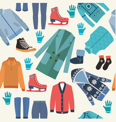 background with fashion winter clothes collection vector image